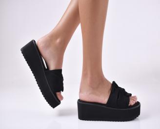 Дамски чехли  на платформа черни SDLA-1013975