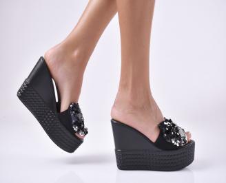 Дамски чехли  на платформа черни BYEP-1013976