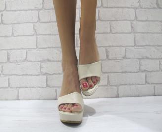 Дамски чехли на платформа еко кожа бежови ECKC-23884