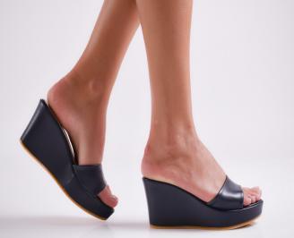 Дамски чехли  на платформа еко кожа тъмно сини XIVY-24410
