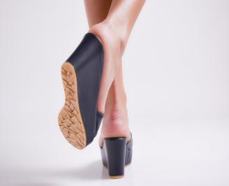 Дамски чехли  на платформа еко кожа тъмно сини 3