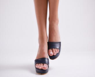 Дамски чехли  на платформа еко кожа тъмно сини 4