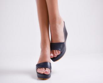 Дамски чехли  на платформа еко кожа тъмно сини 5