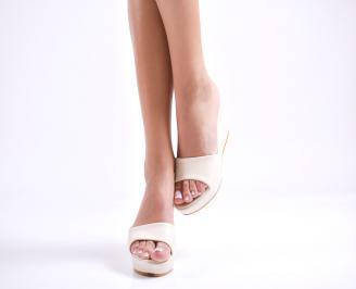Дамски чехли  на платформа еко кожа бежови LAAZ-24412