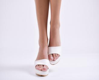 Дамски чехли  на платформа еко кожа бели PHST-24420