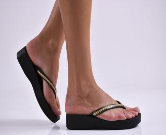 Дамски  чехли на платформа  черни JZGT-27316