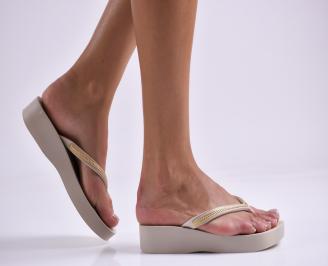 Дамски  чехли на платформа бежови LJKR-27318