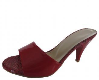 Дамски чехли на ток еко кожа/лак червени HCBP-19727