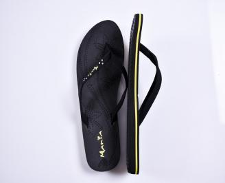 Дамски чехли текстил  черни DTIU-27875