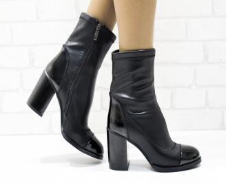 Дамски елегантни боти  черни  от еко кожа JUXB-25427