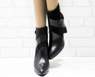 Дамски елегантни боти  черни  от еко кожа/еко велур MBIT-25429