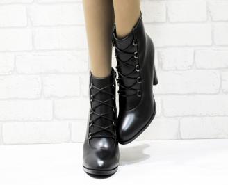 Дамски елегантни боти  черни  от еко кожа XYME-25436