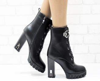 Дамски елегантни боти  черни  от еко кожа SVVE-25454