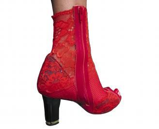 Дамски елегантни боти червени дантела ZBDB-18861