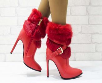 Дамски елегантни боти еко кожа червени MYSH-21942