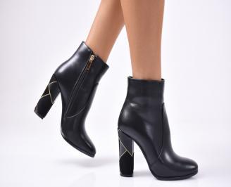 Дамски елегантни  боти еко кожа черни JUEQ-24844