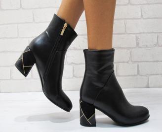 Дамски елегантни  боти еко кожа черни FCOF-24857