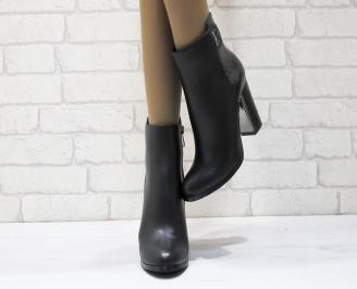 Дамски елегантни  боти еко кожа черни ADKE-24894