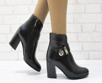 Дамски елегантни  боти еко кожа черни JBUE-24898