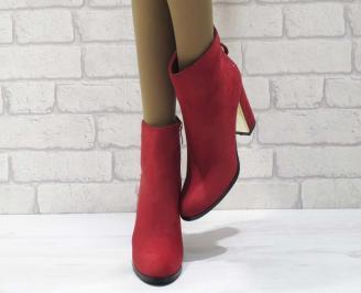 Дамски елегантни  боти еко велур червени AOEI-25071