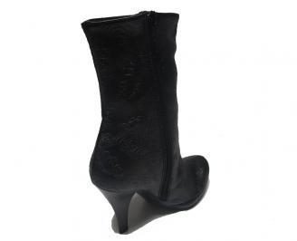 Дамски елегантни боти еко кожа черни CQCB-14959