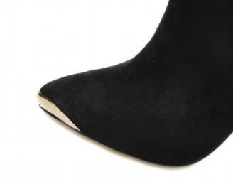Дамски елегантни боти еко набук черни GTID-17337