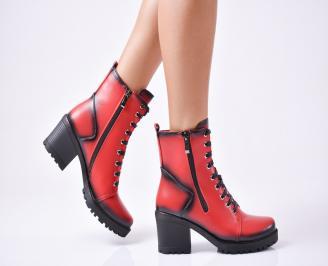 Дамски елегантни боти  от еко кожа червени TCXT-1010125