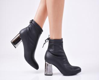 Дамски елегантни  боти  от еко кожа черни UKSG-1010897