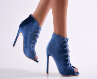 Дамски елегантни боти сини еко велур SHQF-23052