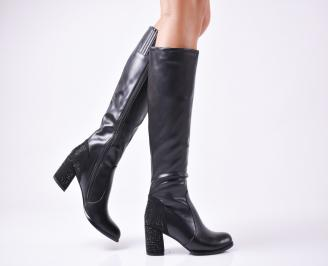 Дамски елегантни ботуши  еко кожа черни GMLN-1010123