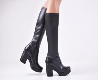 Дамски елегантни ботуши  еко кожа черни EQFQ-1010896