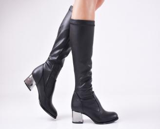 Дамски елегантни  ботуши  от еко кожа черни SWXT-1010910