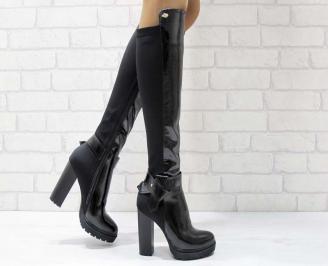 Дамски елегантни ботуши черни еко лак GUTZ-21933