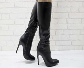 Дамски елегантни ботуши еко кожа черни GMWA-21940