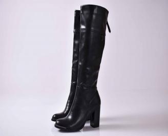 Дамски елегантни ботуши  черни от еко кожа BCII-22205
