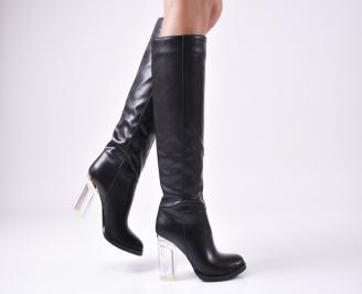 Дамски елегантни  ботуши  черни с прозрачен ток еко кожа ACQC-22207