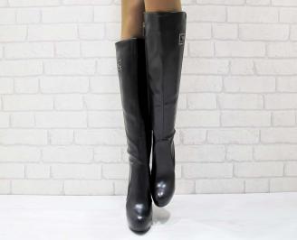 Дамски елегантни ботуши черни от еко кожа и велур FUYR-22217
