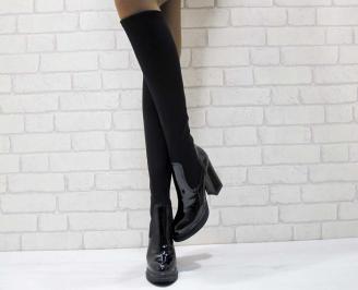 Дамски елегантни ботуши черни текстил с лак WKRZ-22218