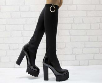 Дамски елегантни ботуши черни от текстил и лак SHVP-22221