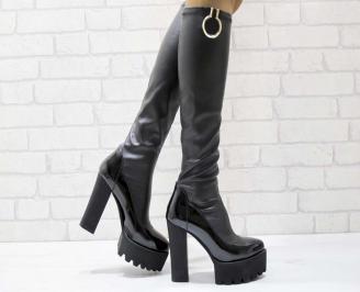 Дамски елегантни ботуши черни от еко кожа HMYC-22222