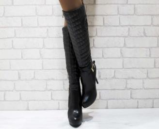 Дамски елегантни ботуши черни от еко кожа BNFE-22226