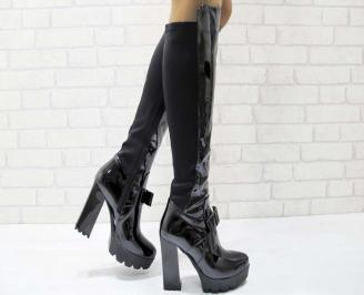 Дамски елегантни ботуши черни от текстил и лак HFVY-22237