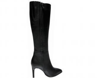 Дамски елегантни ботуши естествена кожа черни WBWW-22404