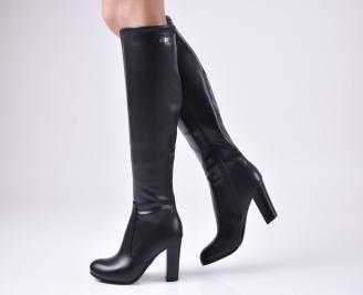 Дамски елегантни ботуши черни от еко кожа LLQP-22459