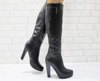 Дамски елегантни ботуши  черни от еко кожа MXMV-22461