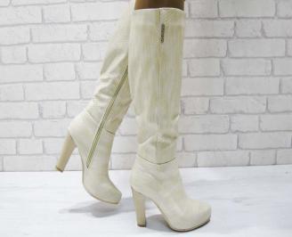 Дамски елегантни ботуши бежови от еко кожа UAAA-22463