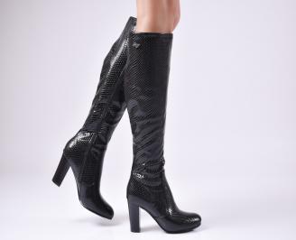Дамски елегантни ботуши черни от еко кожа EZKV-22465