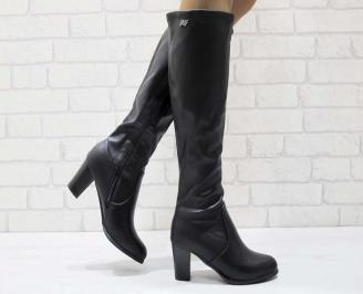 Дамски елегантни ботуши черни от еко кожа KGLB-22466