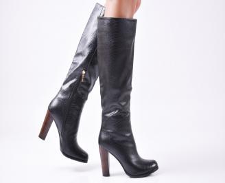 Дамски елегантни ботуши черни  еко кожа OGDW-22574