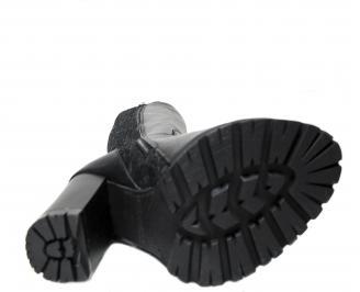 Дамски елегантни ботуши естествена кожа черни CJSH-22691